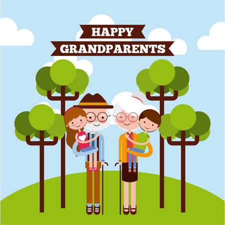 picking up: Grandparents picking grandchildren up at the park with trees and happy grandparents sign. Vector illustration.