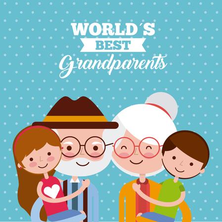 Grandparents picking grandchildren up over blue dotted background. Vector illustration.