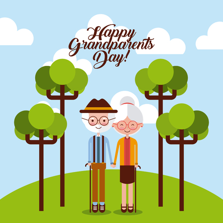 Grandparents at the park with trees and happy grandparents sign. Vector illustration. Иллюстрация