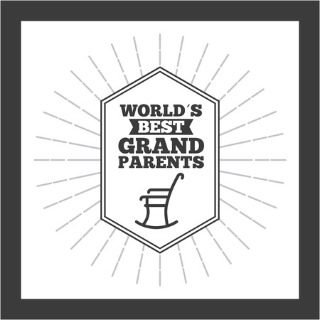 Worlds best grandparents label with rocking chair over white background. Vector illustration.