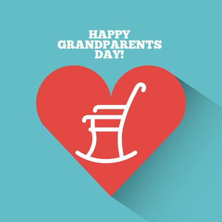Tarjeta del día de abuelos feliz con corazón y mecedora sobre fondo verde azulado. Ilustración vectorial Foto de archivo - 80874646