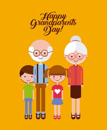 Cute grandparents and grandchildren over orange background. Vector illustration.