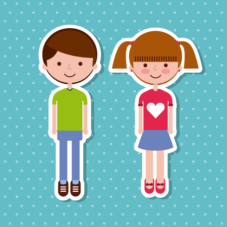 Cute kid stickers over blue dotted background. Vector illustration.