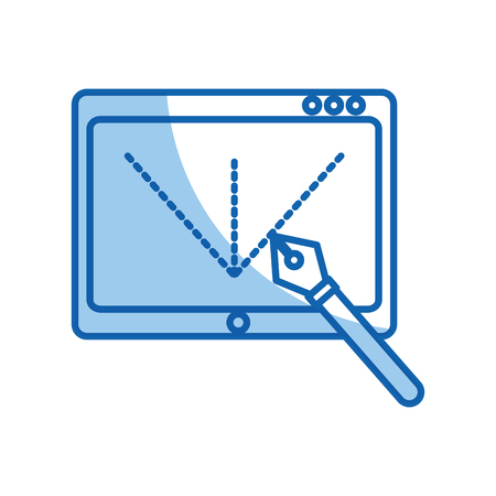 stylus: Tablet drawing work icon vector illustration design graphic