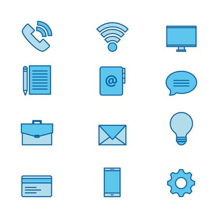 Blue technology and communication related icon set over white background vector illustration Ilustrace