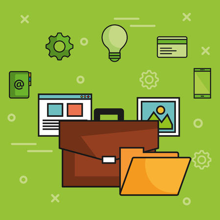 Briefcase with webpage picture folder and related objects over green background vector illustration