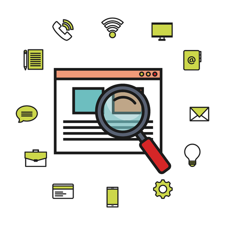Webpage and magnifying glass with related objects over white background vector illustration
