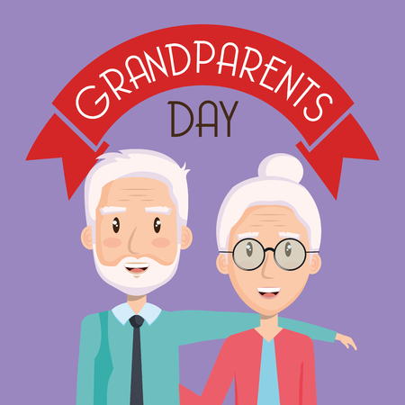 Elder couple with grandparents day sign and riboon over purple background vector illustration