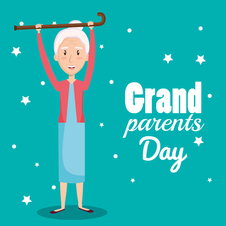 Grandma holding walking cane and grand parents day design over teal background vector illustration