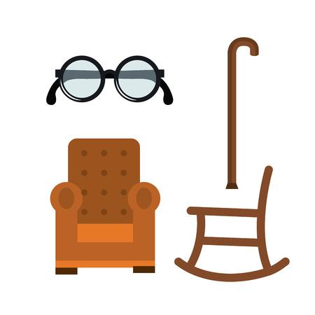 Elder people related objects over white background vector illustration Illustration
