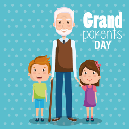 De opa en de kleinkinderen met grootoudersdag ondertekenen blauwe gestippelde vectorillustratie als achtergrond