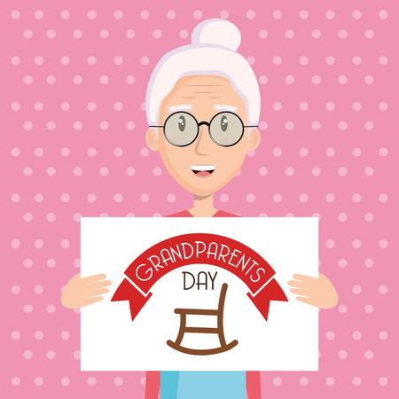 Abuela, tenencia, abuelos, día, señal, oscilante, silla, rosa, punteado, Plano de fondo, vector Foto de archivo - 80909160