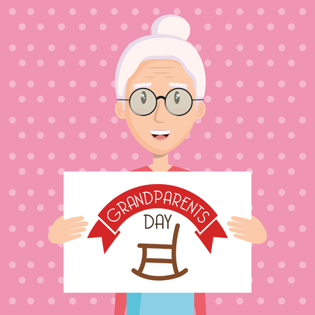 Grandma holding grandparents day sign with rocking chair over pink dotted background vector illustration Ilustração