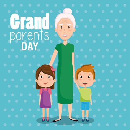 Grandma and grandchildren with grandparents day sign over blue dotted background vector illustration Ilustração
