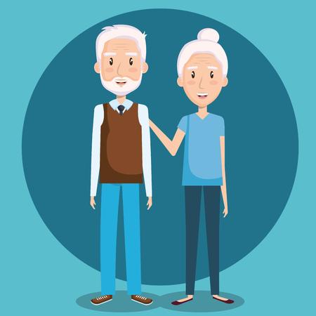 青い背景にかわいい祖父母ベクトル イラスト