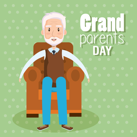 Grandpa sitting on armchair with grandparents day sign over green dotted background vector illustration