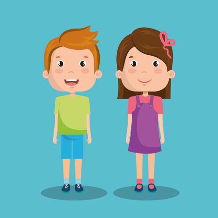 Lindos filhos sobre ilustração vetorial de fundo azul