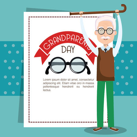 Grandparents day card with glasses and grandpa holding walking cane over teal background vector illustration