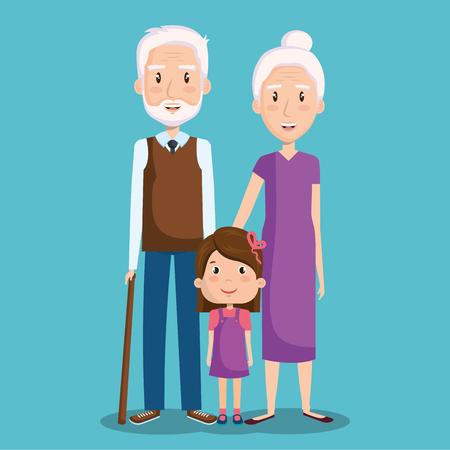 Grandparents and granddaughter over blue background vector illustration Ilustrace