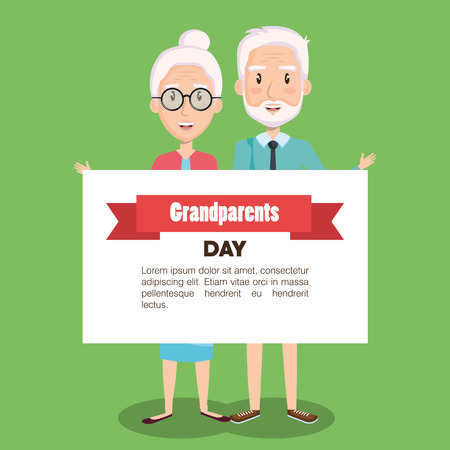 Elder couple holding grandparents day card over green background vector illustration