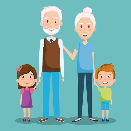 Grandparents and grandchildren over teal background vector illustration Çizim