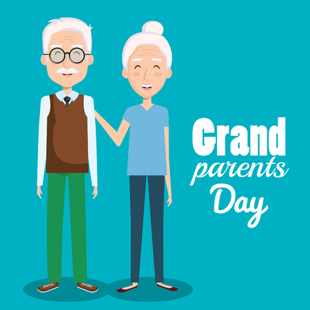 Cute grandparents day design over blue background vector illustration