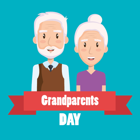 Cute elder couple with grandparents day sign and ribbon over blue background vector illustration Illustration