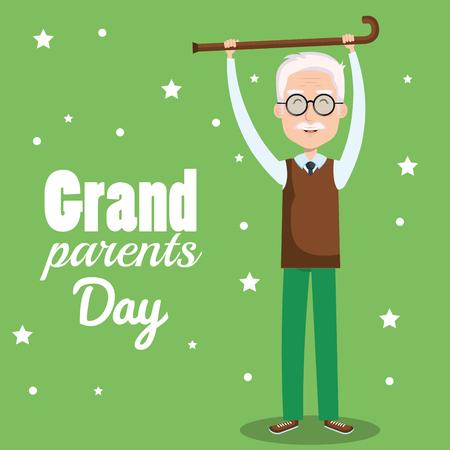 Abuelo con bastón caminando sobre fondo verde ilustración vectorial Foto de archivo - 80933614