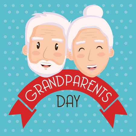 Elder couple faces and grandparents day sign with ribbon over teal dotted background vector illustration