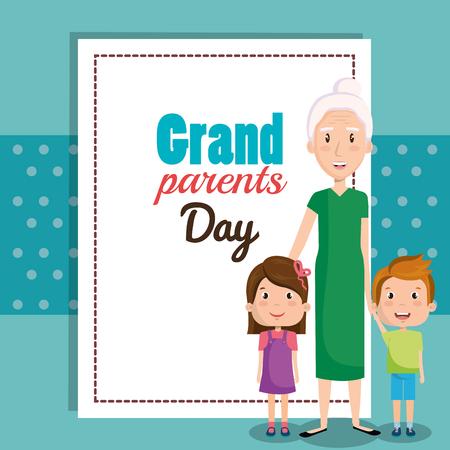 Grandparents day card with grandma and grandchildren over teal background vector illustration Ilustração