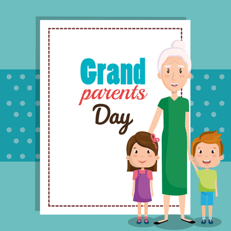 Grandparents day card with grandma and grandchildren over teal background vector illustration Illustration