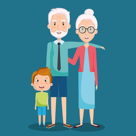 祖父母と孫の青い背景の上ベクトル イラスト