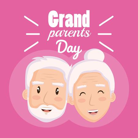 Grandparents faces over pink background vector illustration