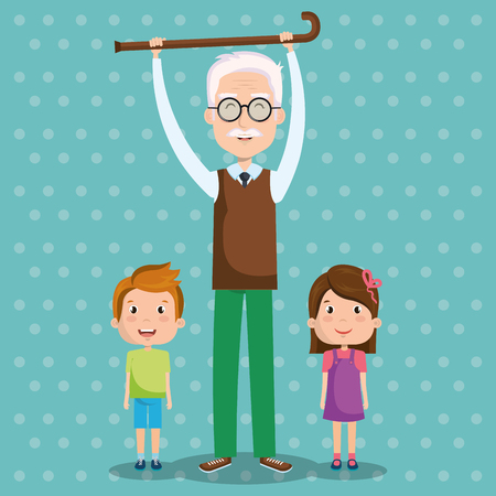 Grandpa holding walking cane and grandchildren over teal dotted background vector illustration Illusztráció