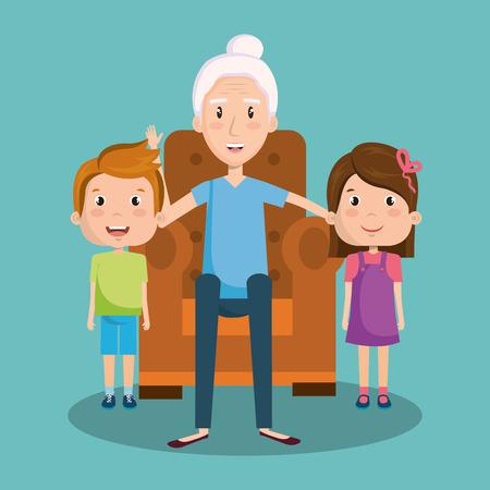 할머니는 청록 배경 벡터 일러스트 레이 션을 통해 아이들과 안락의 자에 앉아