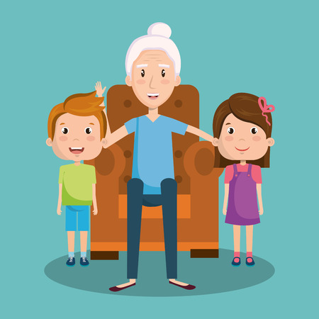 Grandma sitting on armchair with children over teal background vector illustration Ilustrace