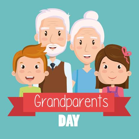 高齢者カップルと青緑背景ベクトル イラスト上の孫と祖父母日デザイン  イラスト・ベクター素材