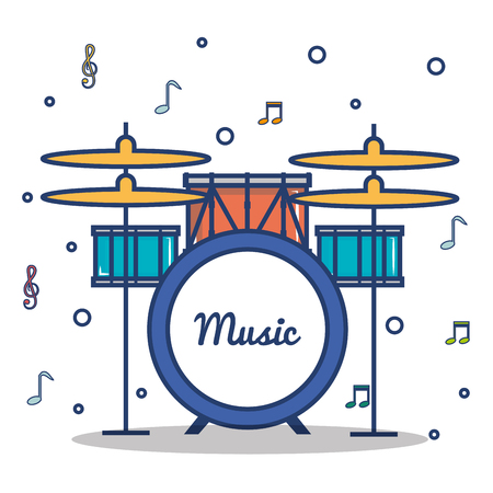 Drums and musical notes over white background vector illustration