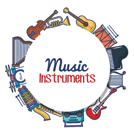 Round music instruments sign surrounded by related objects over white background vector illustration