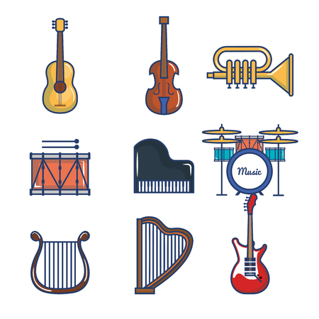 Musical instruments set over white background vector illustration Ilustracja