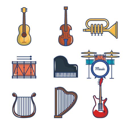Musical instruments set over white background vector illustration Иллюстрация