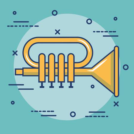 Golden trumpet over teal background vector illustration Illusztráció