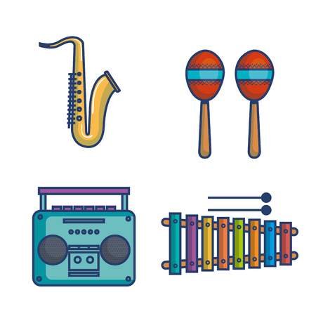 Colorful musical instruments over white background vector illustration Illusztráció