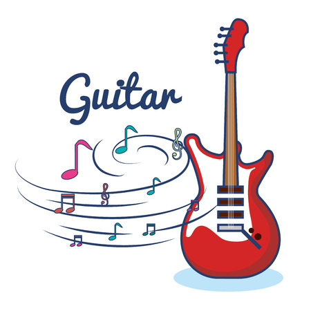 Electric guitar and musical notes over white background vector illustration