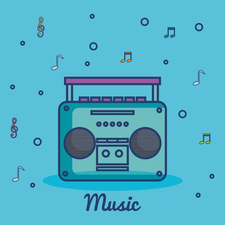 Muziekspeler over blauwe vectorillustratie als achtergrond