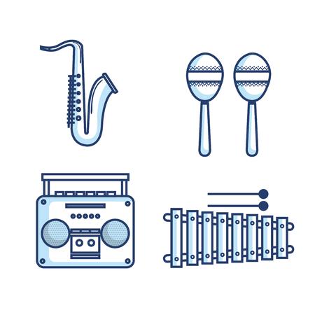 Hand drawn musical instruments over white background vector illustration Zdjęcie Seryjne - 80909272