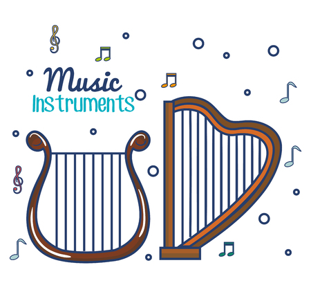 Harp and musical notes over white background vector illustration