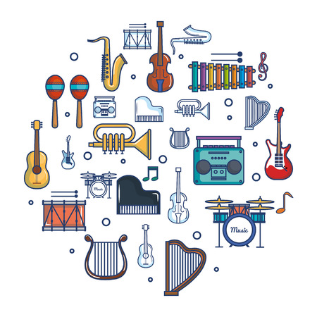 Colorful musical instruments over white background vector illustration Ilustracja