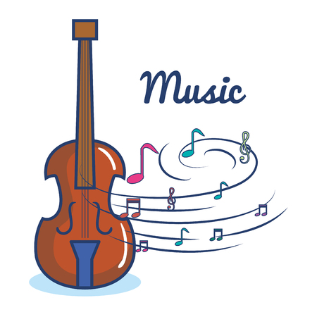 Violin and music sign over white background vector illustraiton Çizim