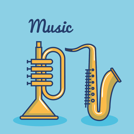 Trumpet and saxo over blue background vector illustration